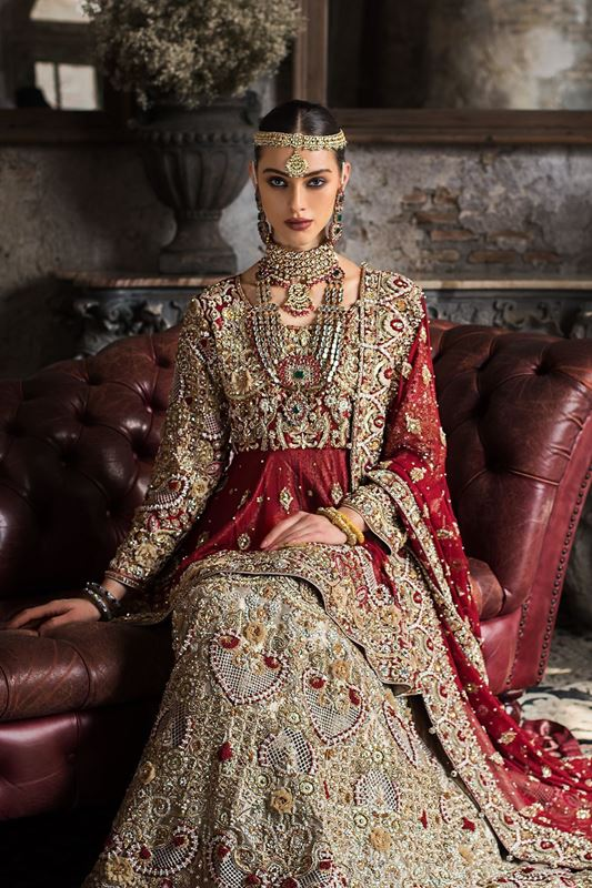 Moazzam Khan Bridal Peplum Gharara with Dupatta in Red For Women