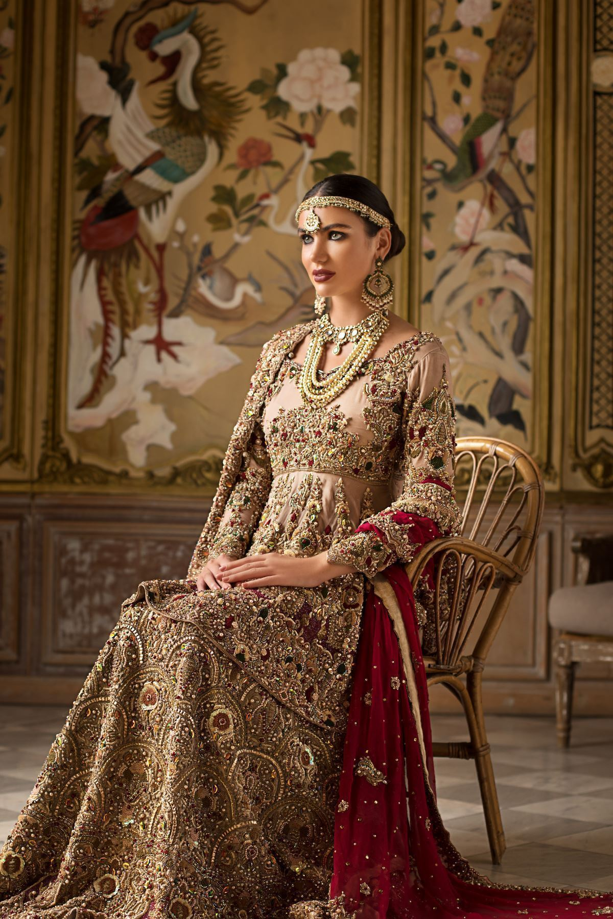 Moazzam Khan Party Wear Peplum Sharara with Dupatta in Peach for Women