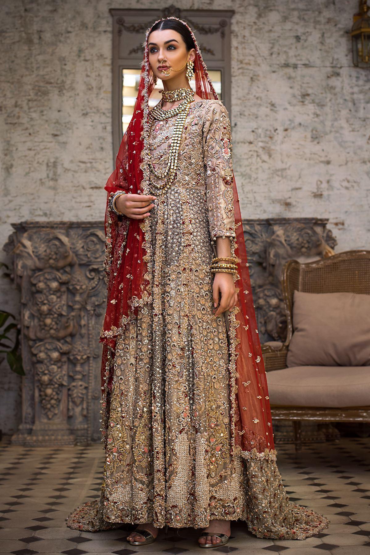 Moazzam khan Bridal Party Wear Tail Net Maxi and Dupatta