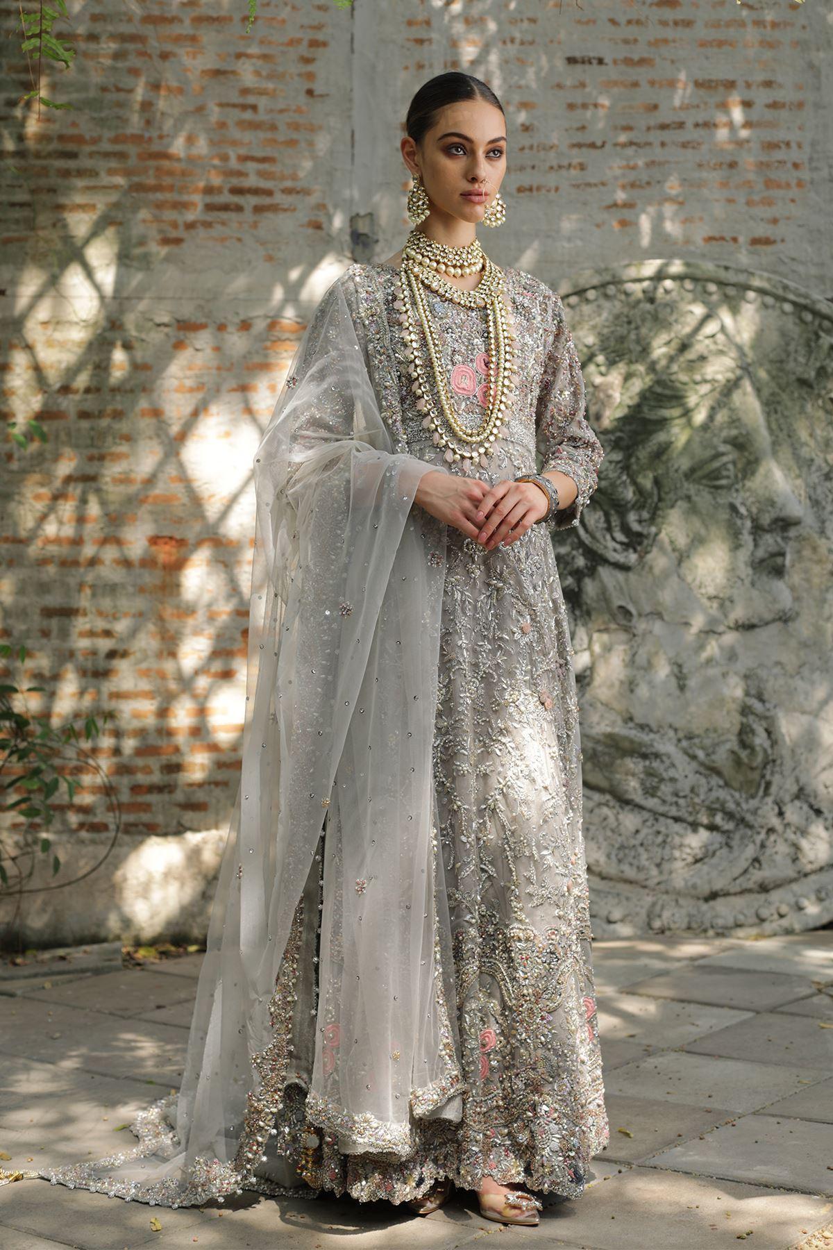 Moazzam khan Bridal Party Wear Net Maxi with Tasseled Dupatta