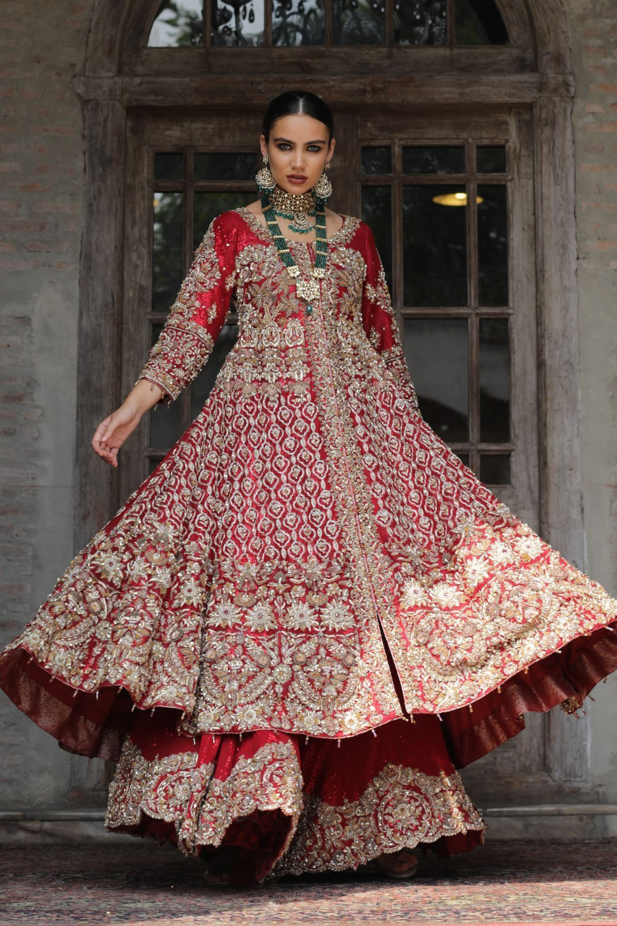 Moazzam Khan Bridal Chiffon Sharara in Red for Women