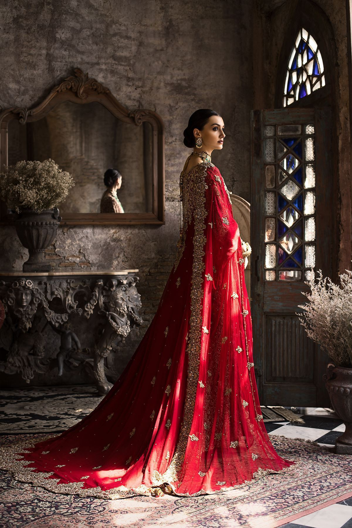 Moazzam Khan Bridals Chiffon Maxi with Tassels and Stone Balls in Red For Women