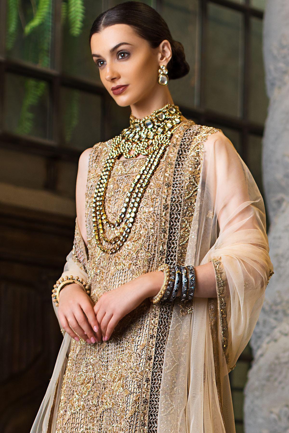 Moazzam khan Bridal Party Wear Net Maxi with Dupatta