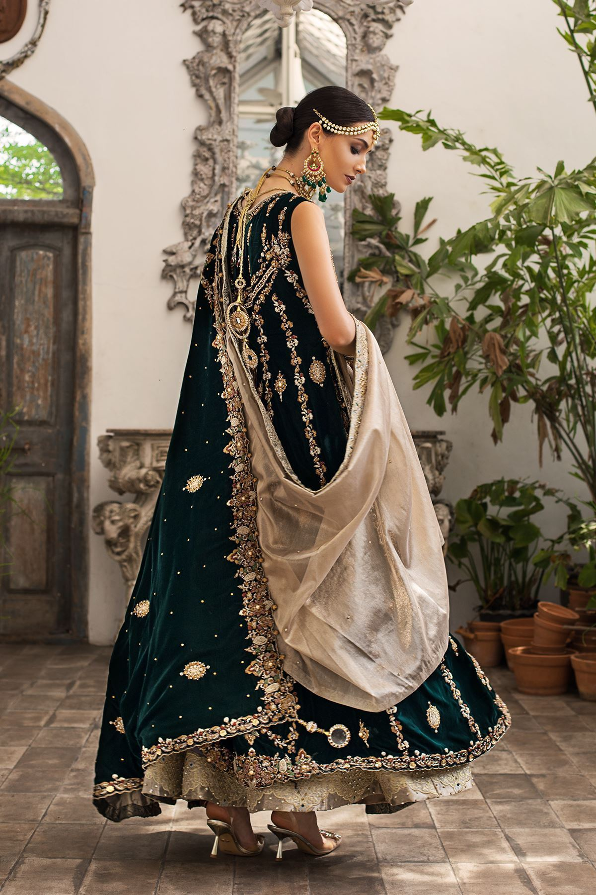 Moazzam Khan Party Wear Bridals Maxi with Dupatta in Green for Women