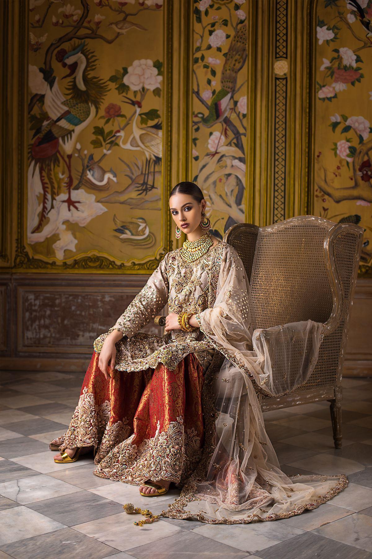 Moazzam Khan Party Wear Bridal Gharara and Dupatta in Pastel for Women