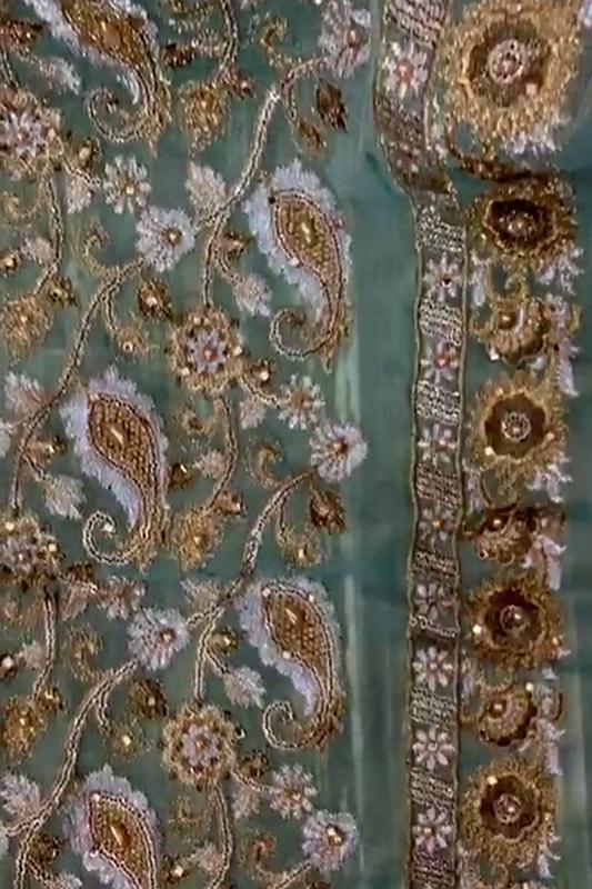 Moazzam khan 3PC unstitched blue khadi net fabric for women