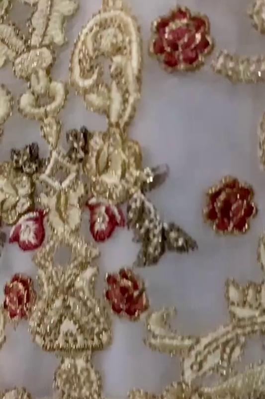 Moazzam Khan 2PC unstitched white chiffon fabric for women