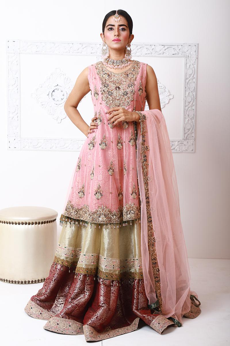 Moazzam Khan Formals 2PC Peplum Sharara Dupatta in Pink for Women