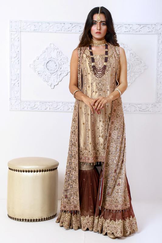 Moazzam Khan Party Wear 2PC Gharara Dupatta in Gold for Women