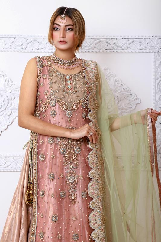 Moazzam Khan Party Wear 2PC Maxi dupatta in Pink for Women