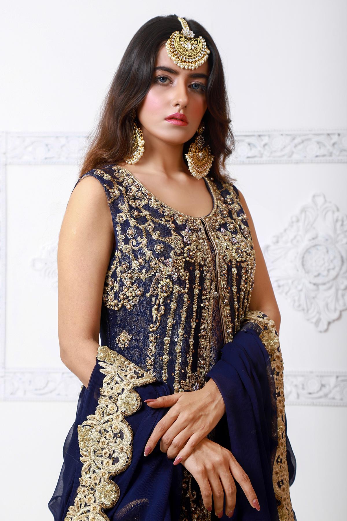 Moazzam Khan Party Wear 2PC Maxi Dupatta in Navy Blue for Women