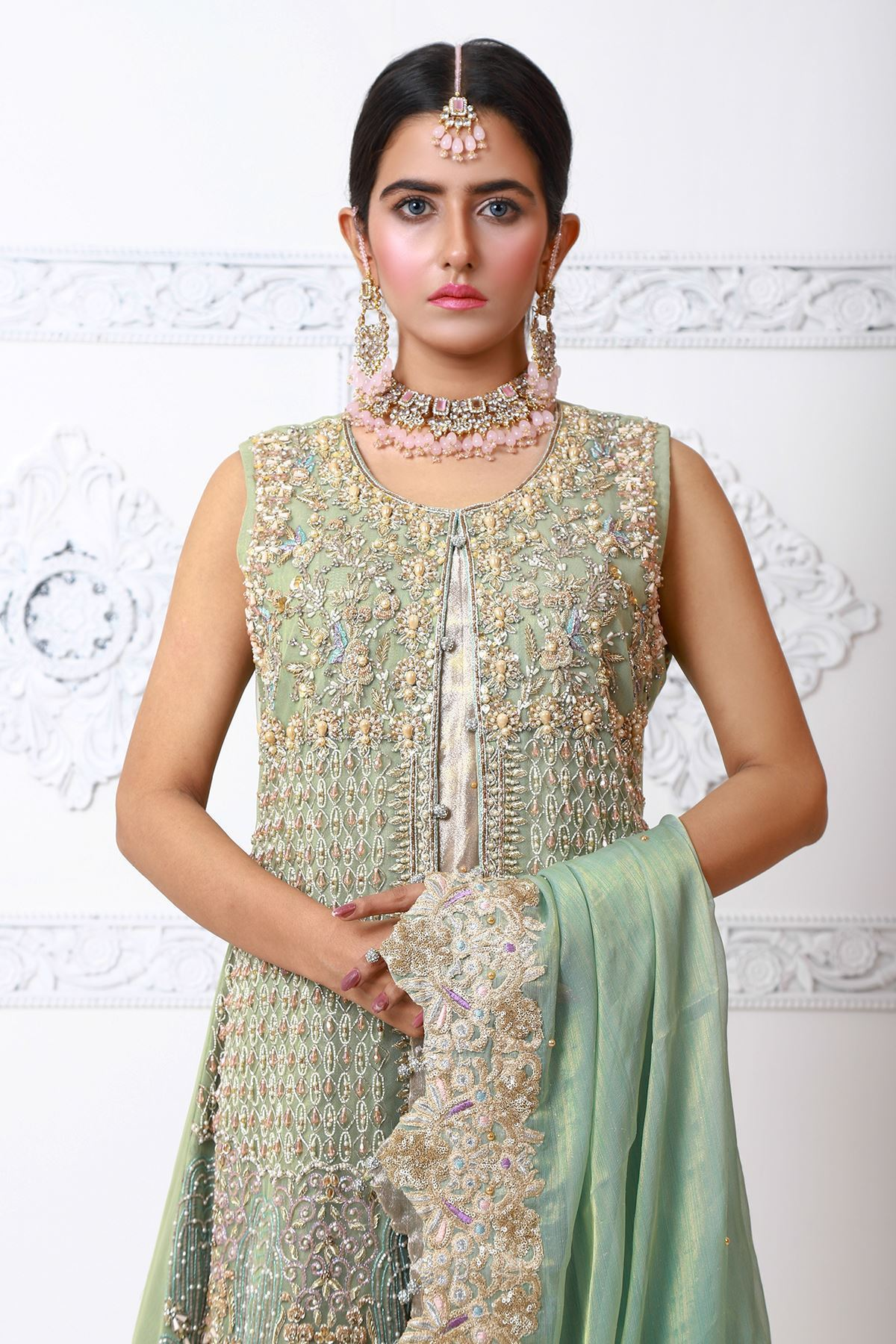 Moazzam Khan Party Wear 2PC Maxi Dupatta Pouch in Pistachio for Women