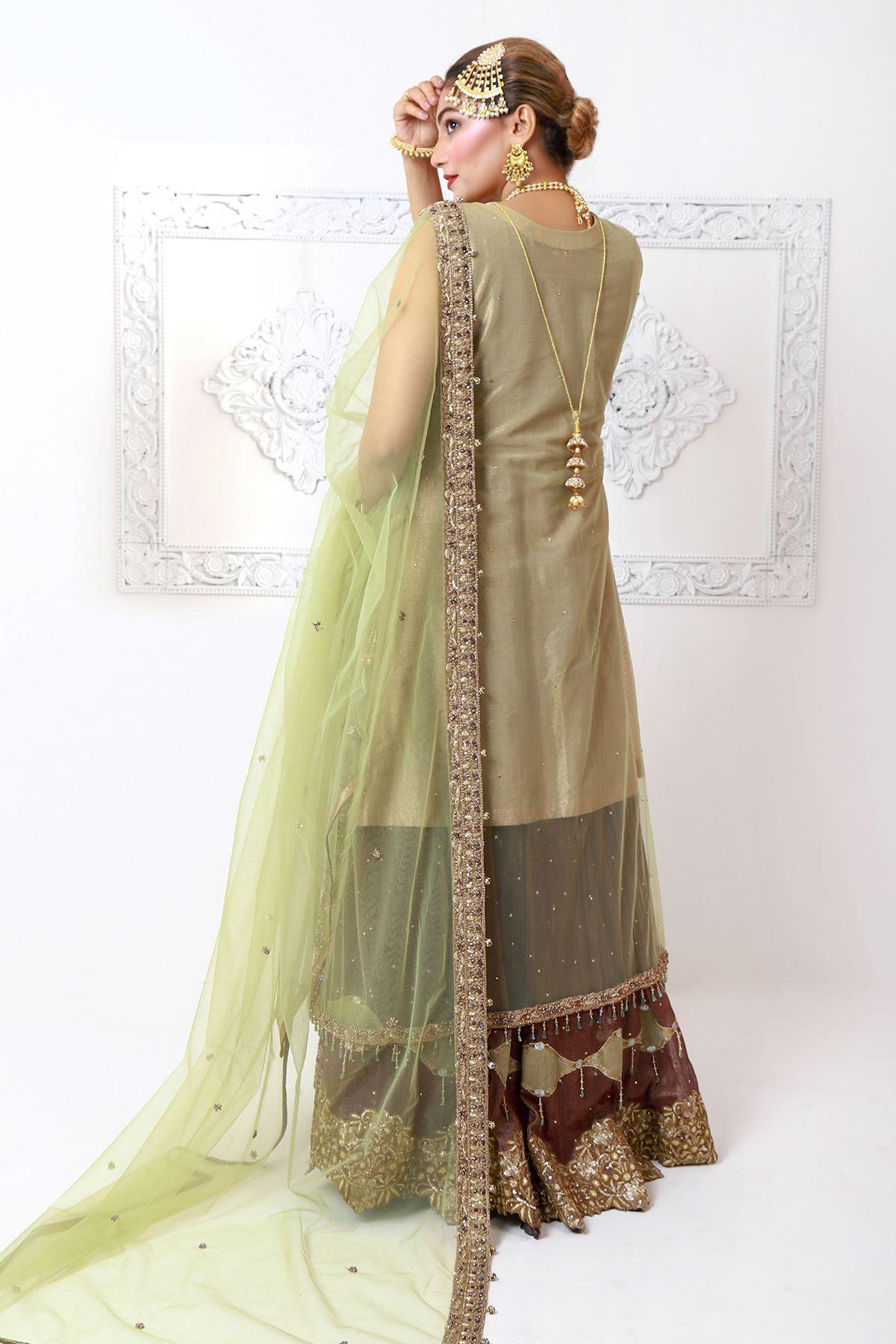 Moazzam Khan Party Wear 2PC Maxi Dupatta Pistachio for Women