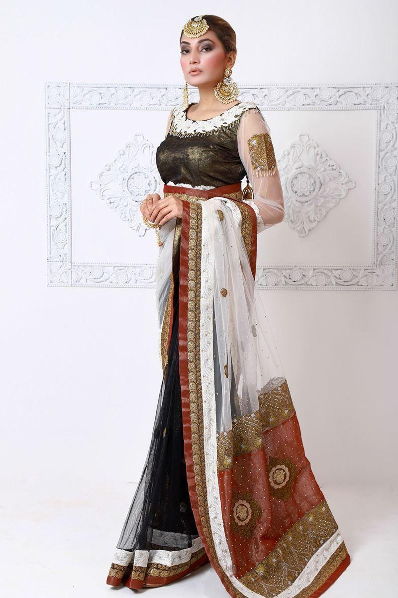Moazzam Khan Formal 3PC Saree Blouse Petticoat in Black for Women