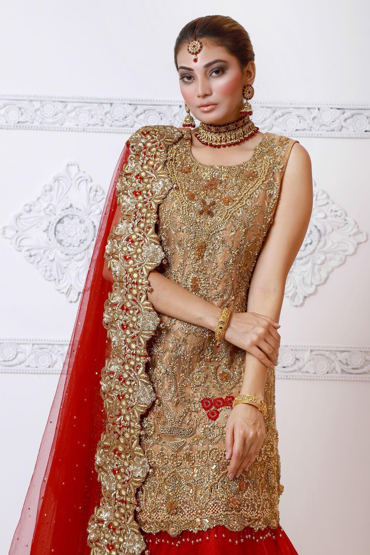 Moazzam Khan Party Wear 3PC Shirt Sharara Dupatta in Fawn for Women