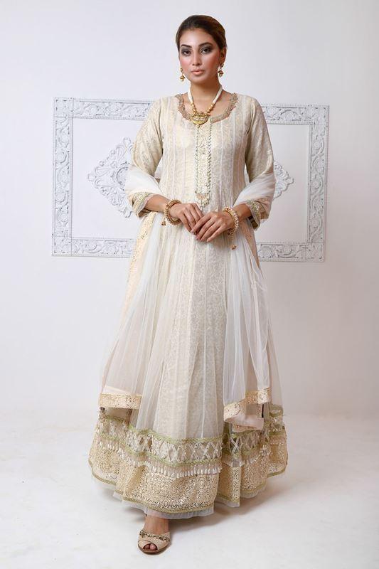 Moazzam Khan Formal 2PC Maxi Dupatta in White for Women
