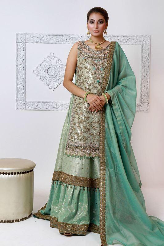 Moazzam Khan Party Wear 2PC Maxi Dupatta in Pistachio for Women