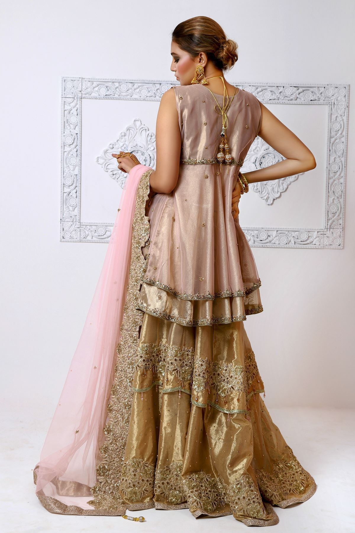 Moazzam Khan Party Wear 3Pc Peplum Sharara Dupatta in Light Pink for Women