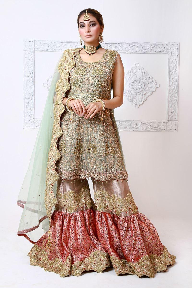Moazzam Khan Party Wear  3PC Peplum Gharara Dupatta in Pistachio for Women