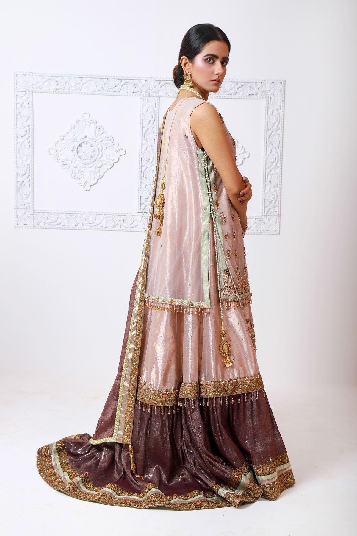 Moazzam Khan Formal 3PC sharara shirt and dupatta in Pink for women