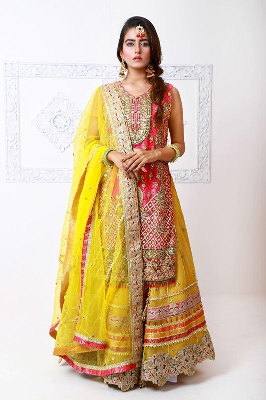 Moazzam Khan Party Wear 2PC Maxi Dupatta in Yellow for Women