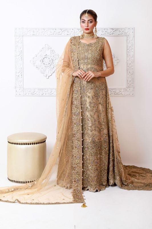 Moazzam Khan Bridals 3PC Maxi Dupatta Pouch in Fawn fo Women