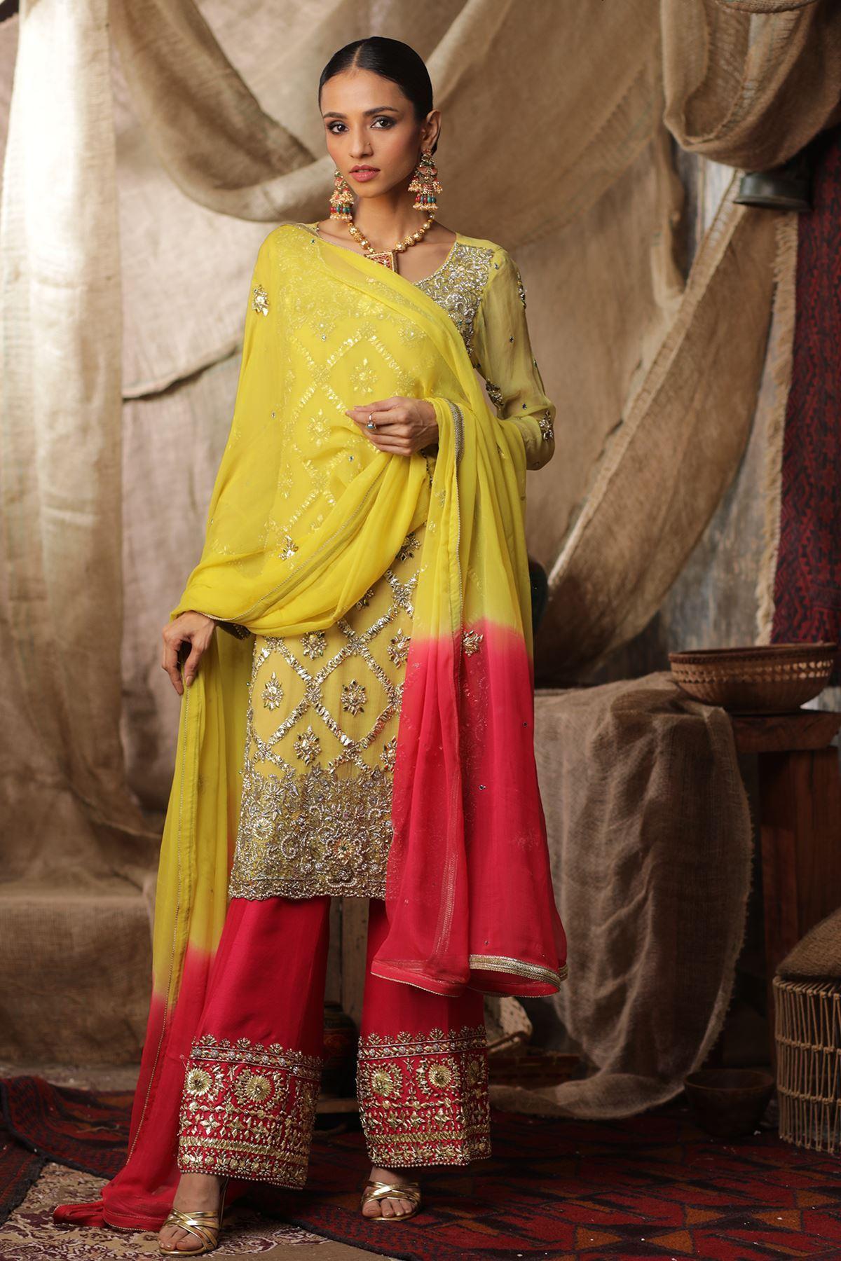Moazzam Khan Party Wear 3PC Shirt Trouser Dupatta in Mehndi for Women