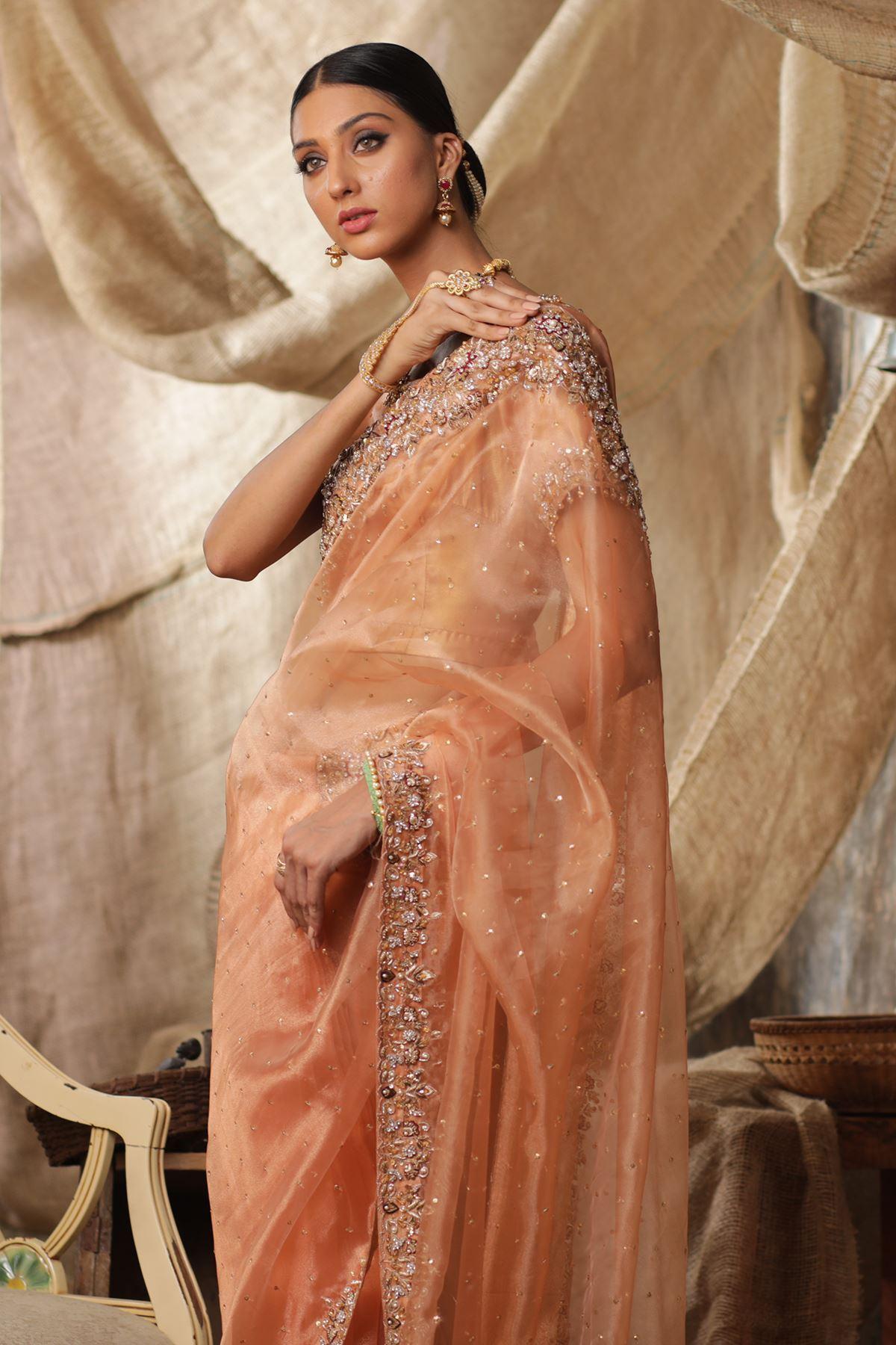 Moazzam Khan Moazzam Khan Party Wear 3Pc Saree Blouse Petti Coat in Peach for Women