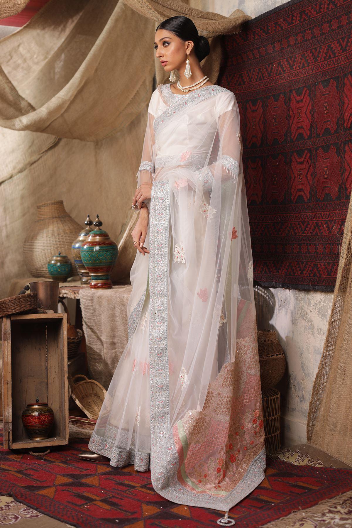 Moazzam Khan Formal 3 PC Saree Blouse Petti Coat in White for Women