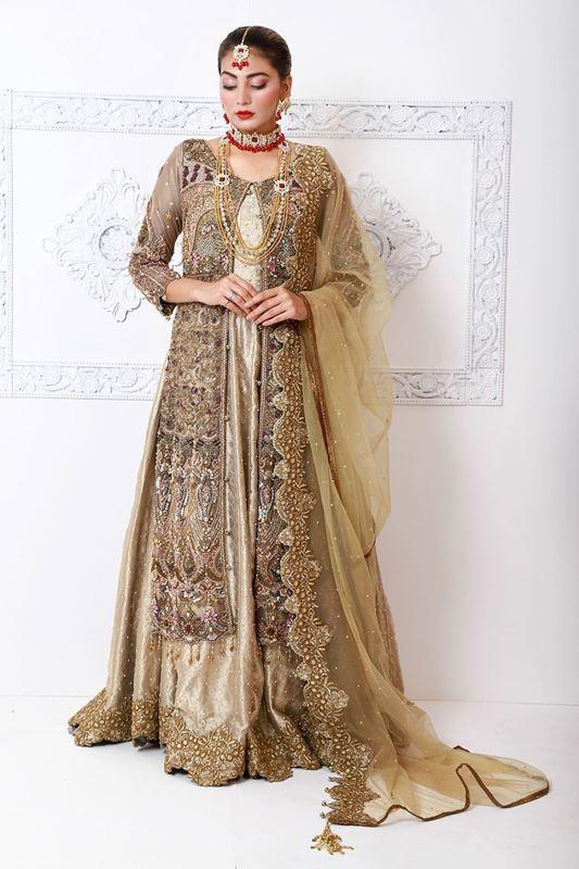 Moazzam Khan Party Wear 2PC Maxi Sharara Dupatta in Brown for Women