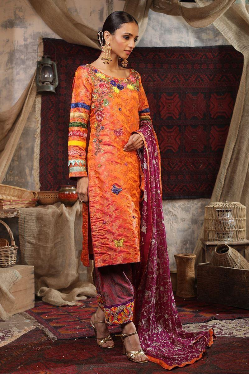 Moazzam Khan Party Wear 3PC Shirt Trouser Dupatta in Orange for Women