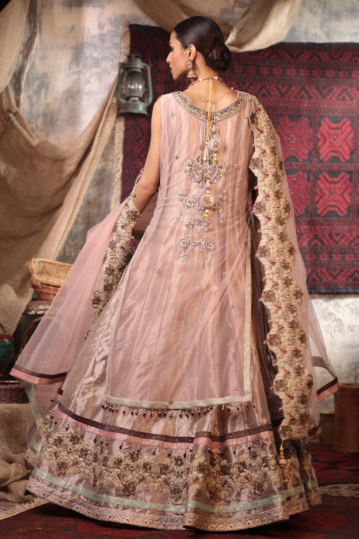 Moazzam Khan Party Wear 2PC Maxi Dupatta in Peach for Women