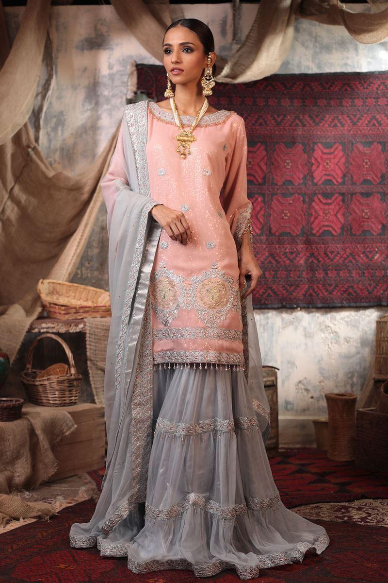 Moazzam Khan Formal 3PC Shirt Gharara Dupatta in Pink for Women