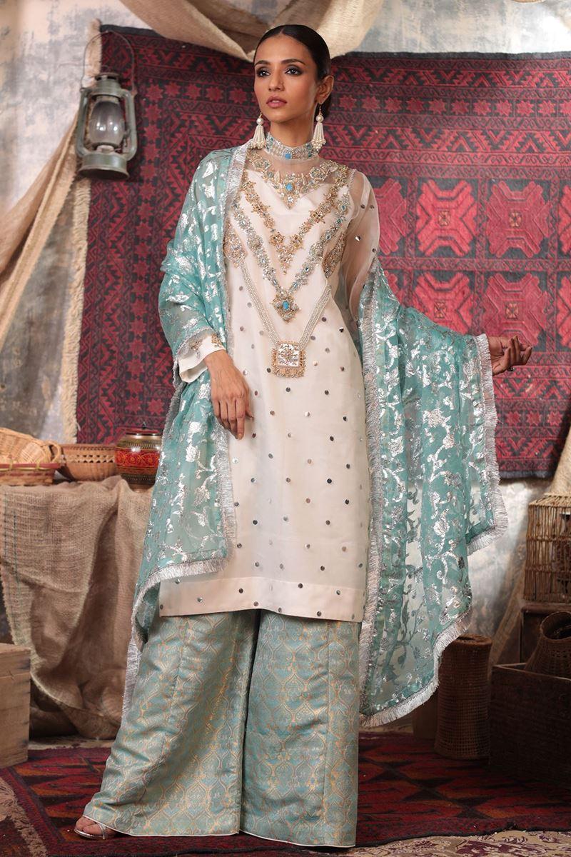 Moazzam Khan Party Wear 3PC  Shirt Dhakka Dupatta in Ferozi for Women