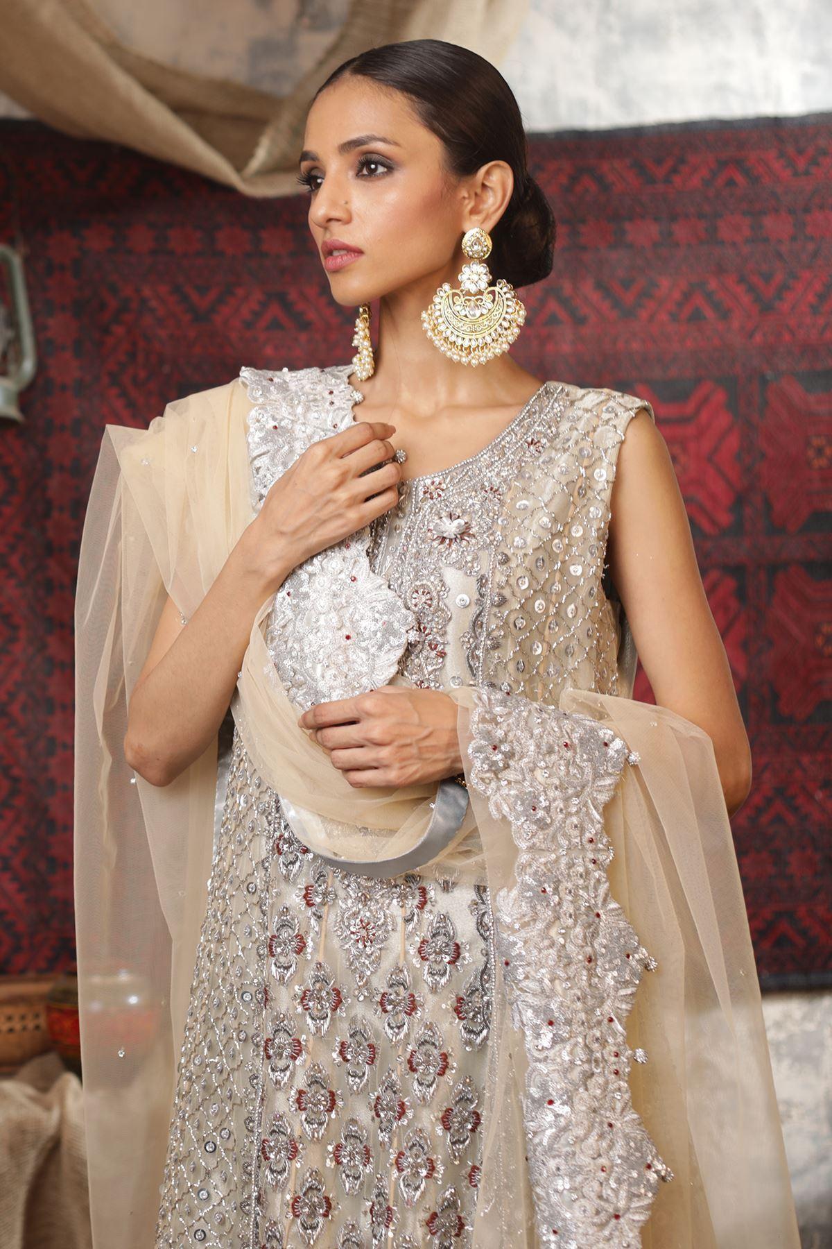 Moazzam Khan Party Wear 2PC Maxi Dupatta in Fawn for Women