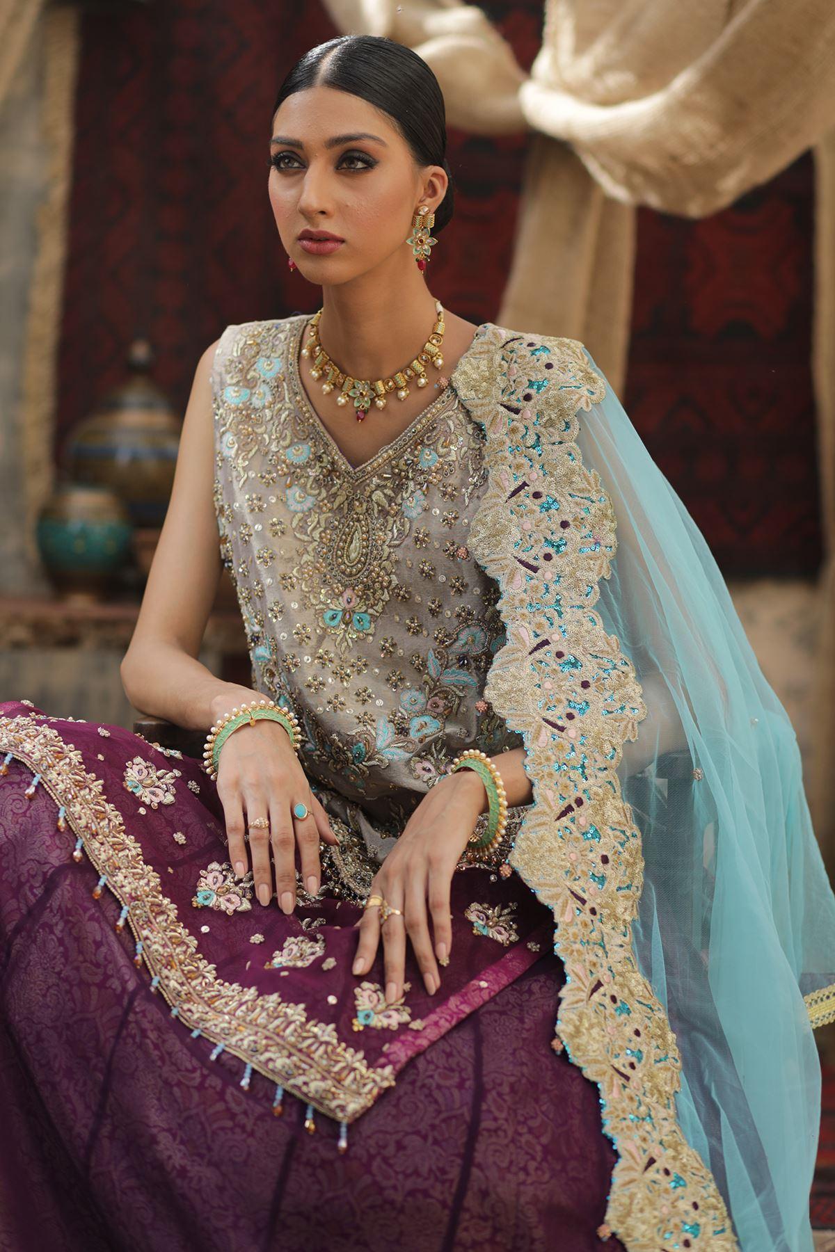 Moazzam Khan Party Wear 2PC Maxi Dupatta in Purple for Women