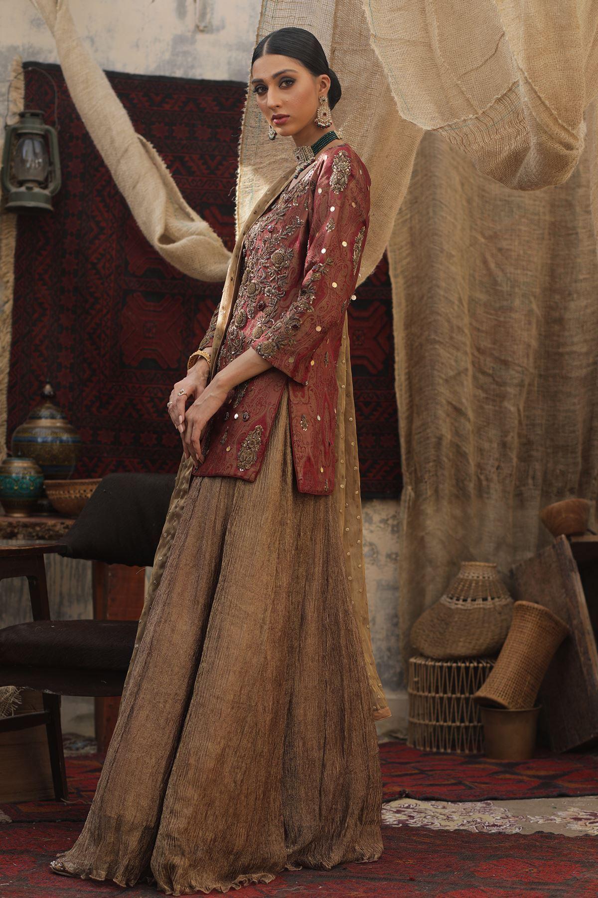 Moazzam Khan Party Wear 3PC Shirt Sharara Dupatta in Brown for Women