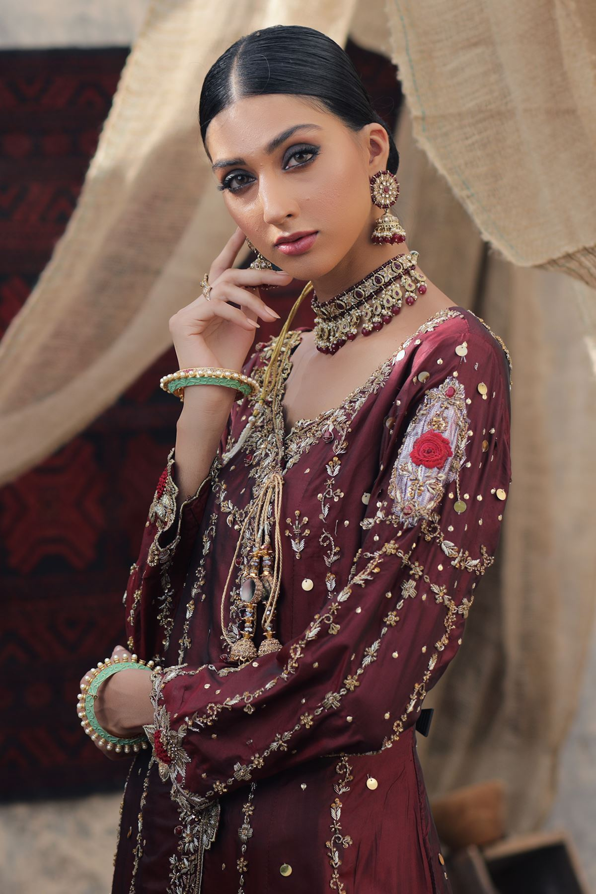 Moazzam Khan Party  Wear 3PC Angrakha Dhakka Dupatta in Maroon for Women