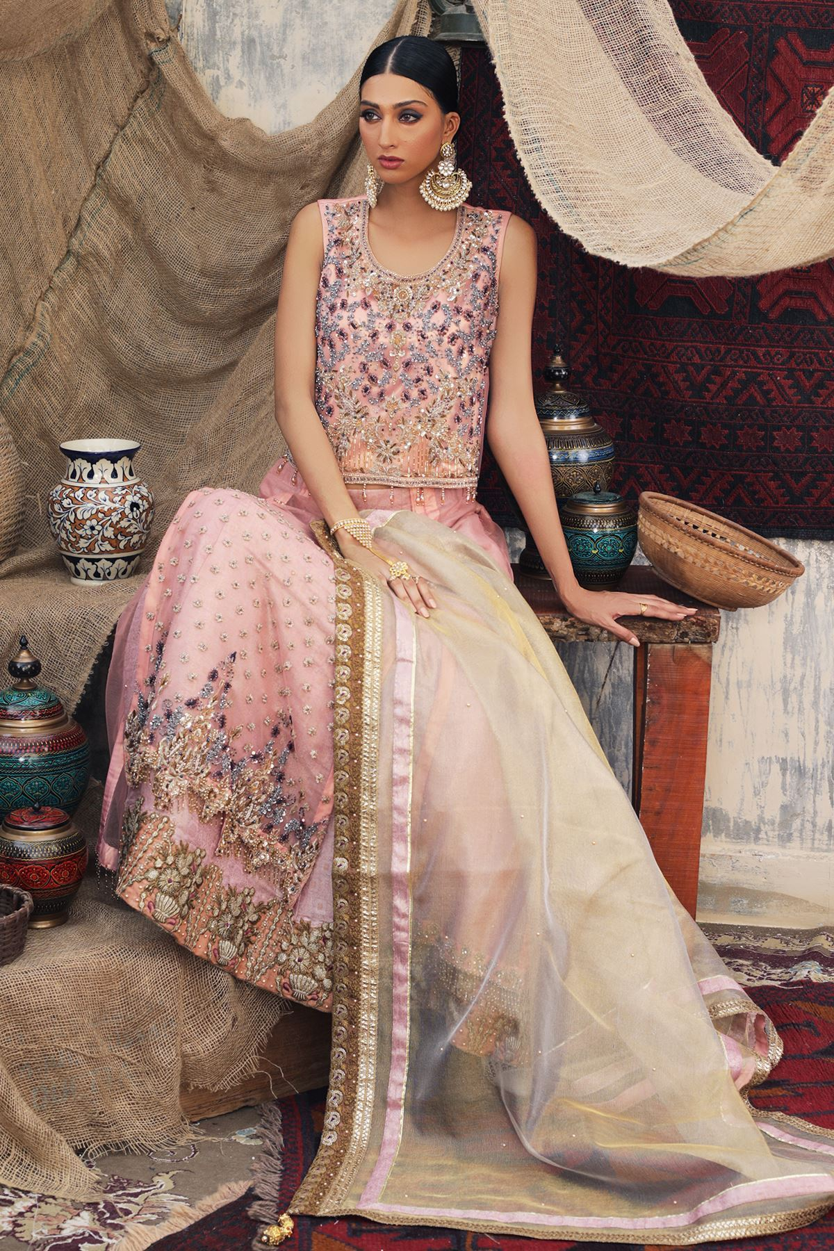 Moazzam Khan Party Wear 3PC Choli Sharara Dupatta in Pink for Women