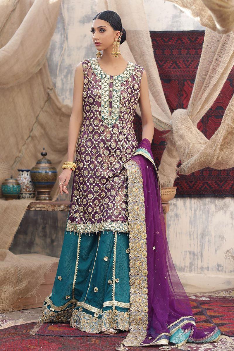 Moazzam Khan Party Wear Shirt Palazzo Dupatta in Purple for Women
