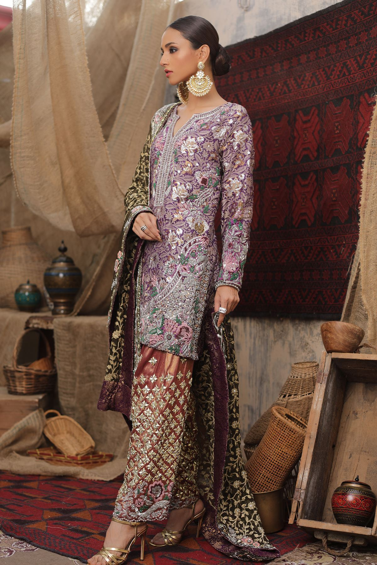 Moazzam Khan Party Wear 3PC Shirt Trouser Dupatta in Purple for Women