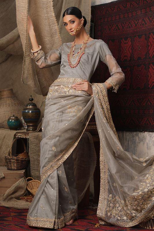 Moazzam Khan Party Wear 3PC Saree Blouse Petti Coat in Grey for Women