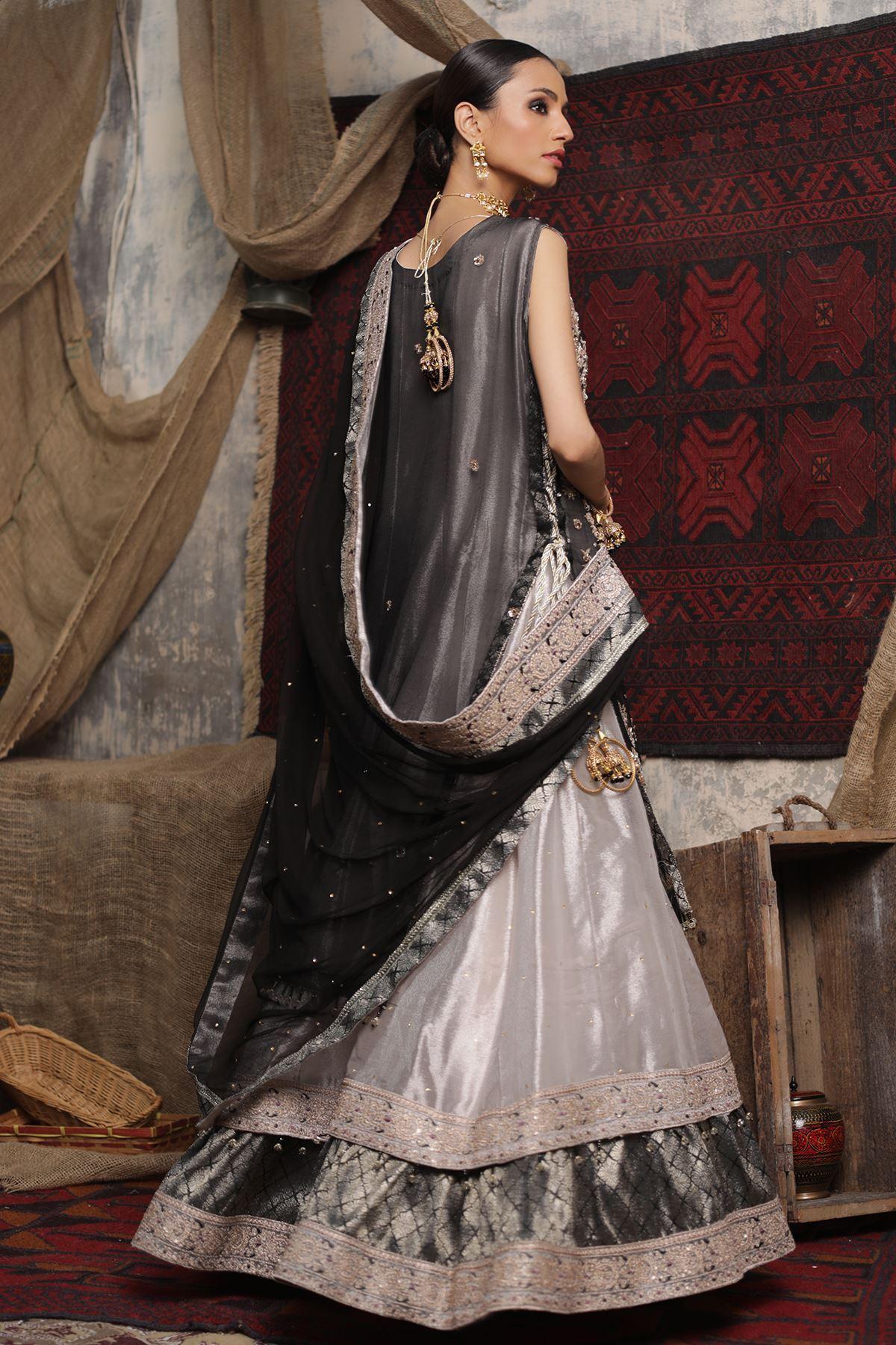 Moazzam Khan Party Wear 2PC Maxi Dupatta in Black for Women
