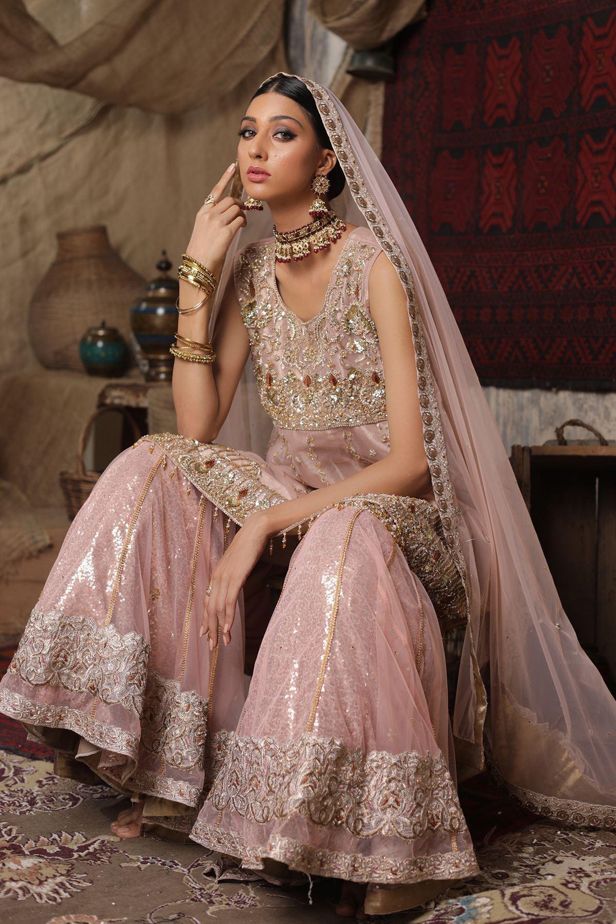 Moazzam Khan Party Wear 3PC Peplum Gharara Dupatta in Pink for Women