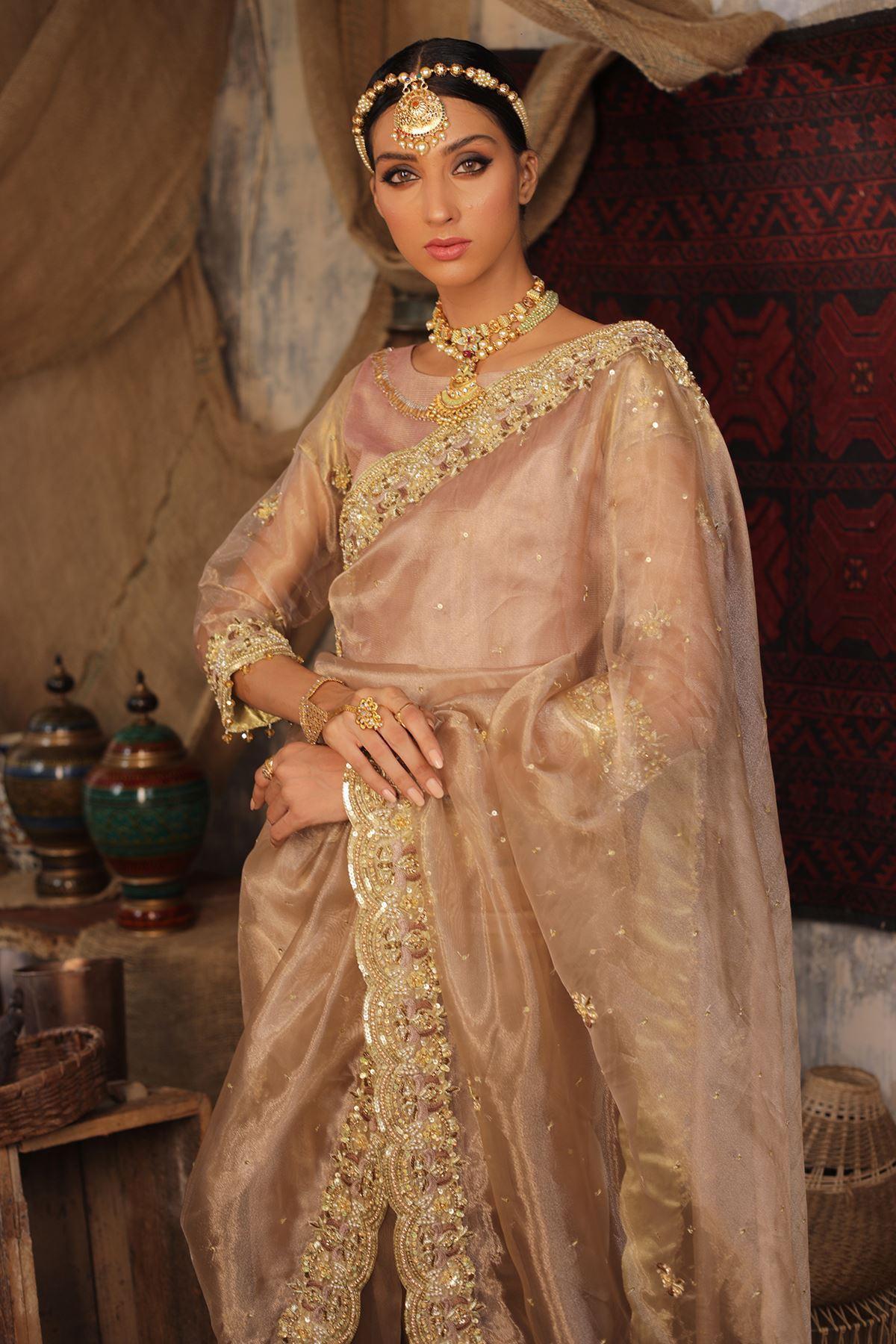 Moazzam Khan Party Wear 3PC Saree Blouse Petti Coat in Peach for Women