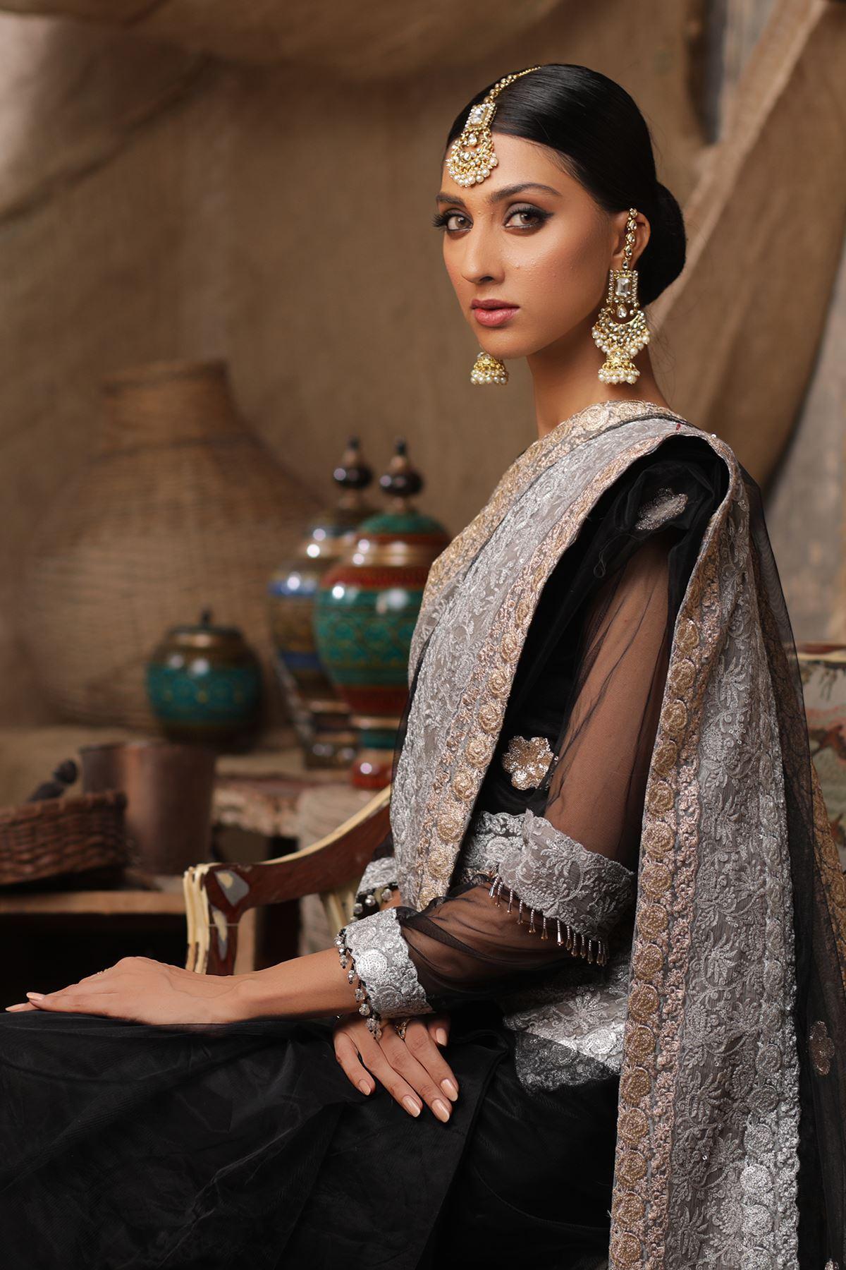 Moazzam Khan Formal 3PC Saree Blouse Petti Coat in Black for Women